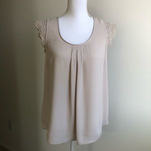daniel rainn crochet lace cap sleeve blouse 👚